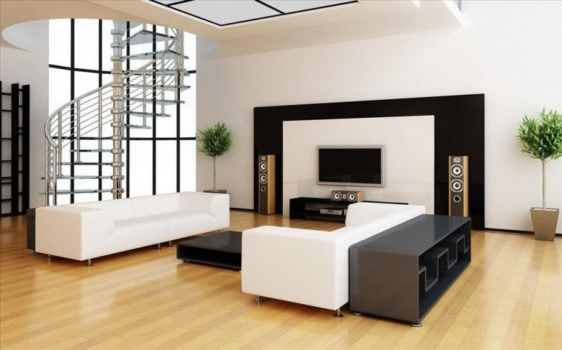 Living Room White Sofa Black Coffee Table Television Wooden Tv Stand Home  Theater Green Plant Stair