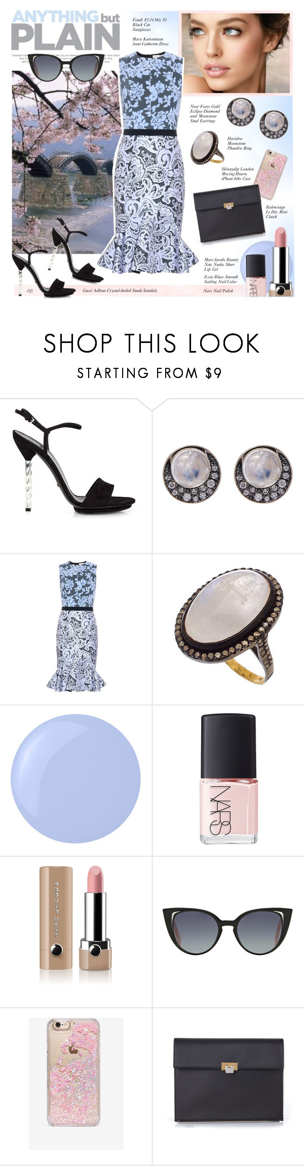 """""""Untitled #966"""" by louise-stuart ❤ liked on Polyvore featuring Gucci, Calvin Klein, Noor Fares, Mary Katrantzou, Haridra, Essie, NARS Cosmetics, Marc Jacobs, Fendi and Skinnydip"""