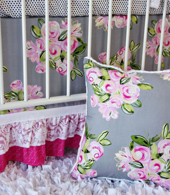 Crib Skirt Pattern Vintage Floral Baby Bedding Set By