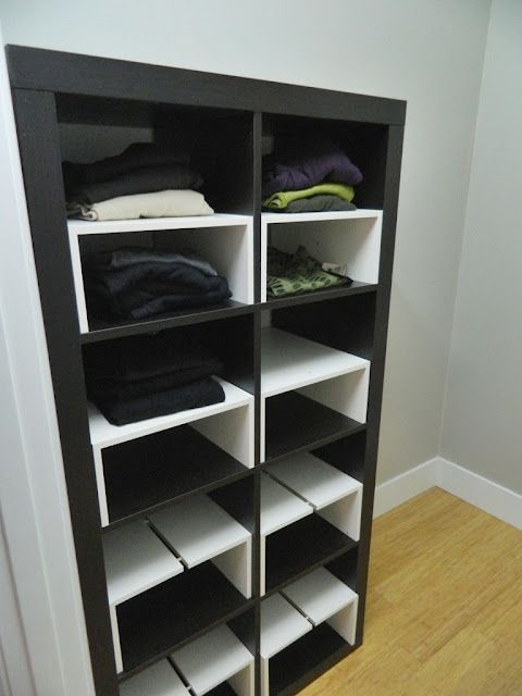 Expedit In The Closet With Half Shelf Inserts Ikea Closet