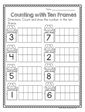 Math Center Activities For Numbers Within 0 10 Dog Themed Math Center Activities Ten Frame Preschool Math