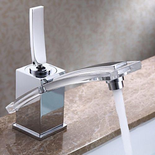 Beautiful Chrome Finish Post Modern Bathroom Sink Faucet   FaucetSuperDeal.com