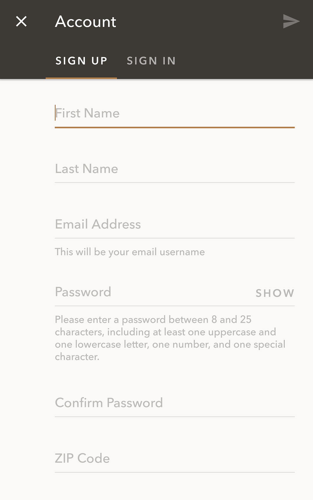 Starbucks App Sign Up Sign In Form Mobile Forms Ui Forms Mobile