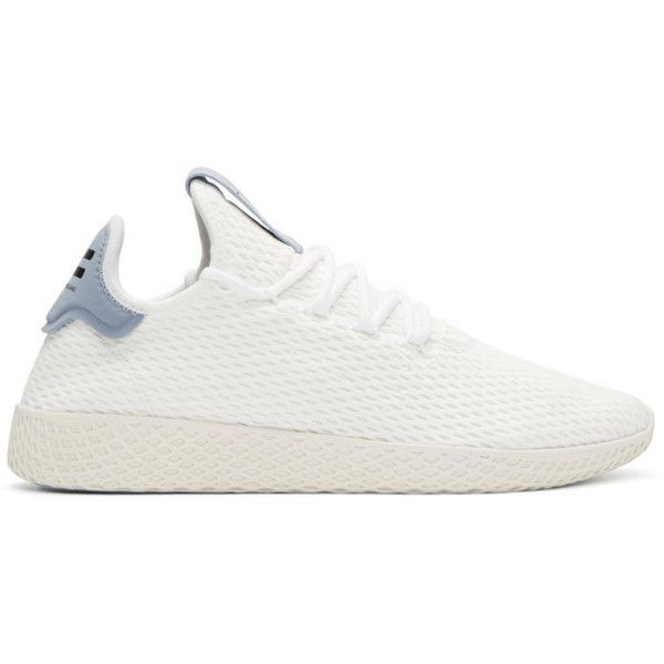 Adidas Originals X Pharrell Williams White And Blue Tennis Hu Sneakers 110 Liked On Polyvore Featuring Men S Fashion Men S S White Tennis Shoes Mens White Tennis Shoes White Shoes Men