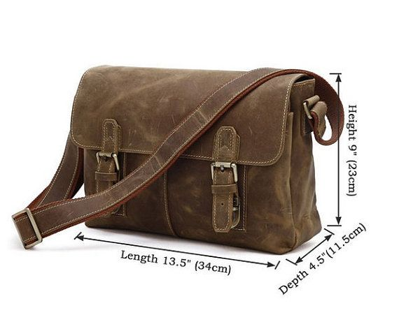 Genuine Brown Crazy horse leather bag/ Men's leather by weiweihe, $99.00