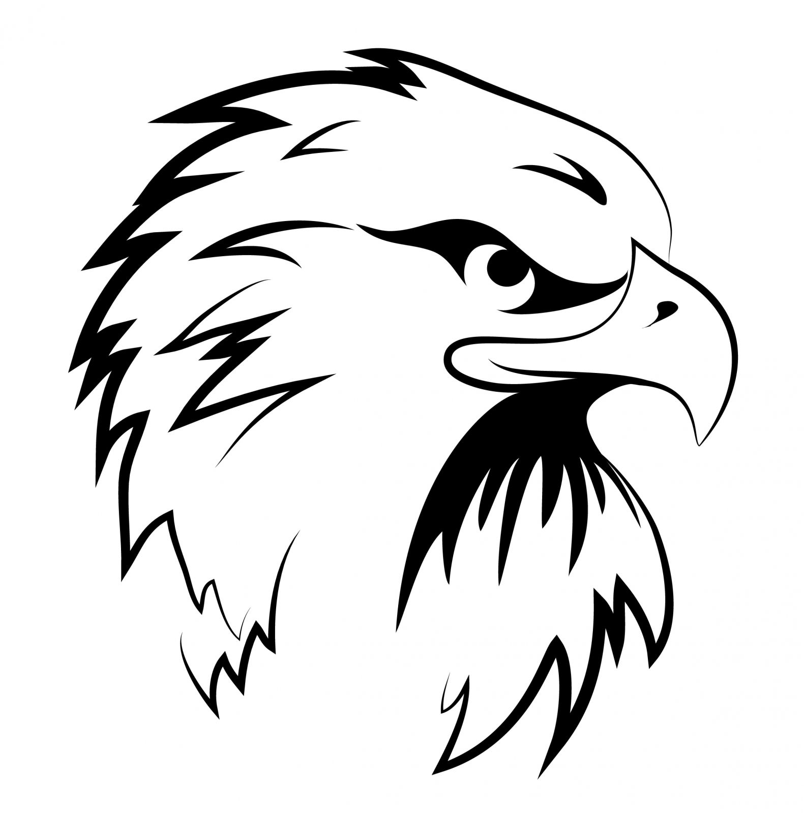 Black and White Eagle Head Clipart | Eagle Coloring Pages ...