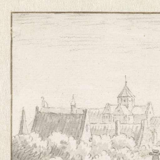 Gezicht op de Mariakerk, Herman Saftleven, 1619 - 1685 - Utrecht-Verzameld werk van Rijksmuseum - Alle Rijksstudio's - Rijksstudio - Rijksmuseum