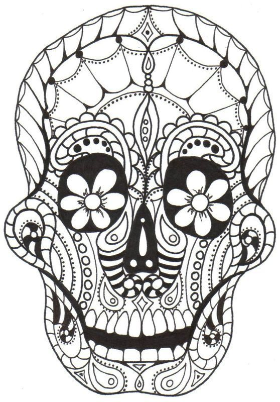 Day Of The Dead Skulls Coloring Pages Dia De Los Muertos
