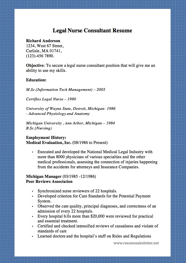 legal nurse consultant resume richard anderson 1234 west 67 street carlisle ma 01741 - Certified Legal Nurse Resume