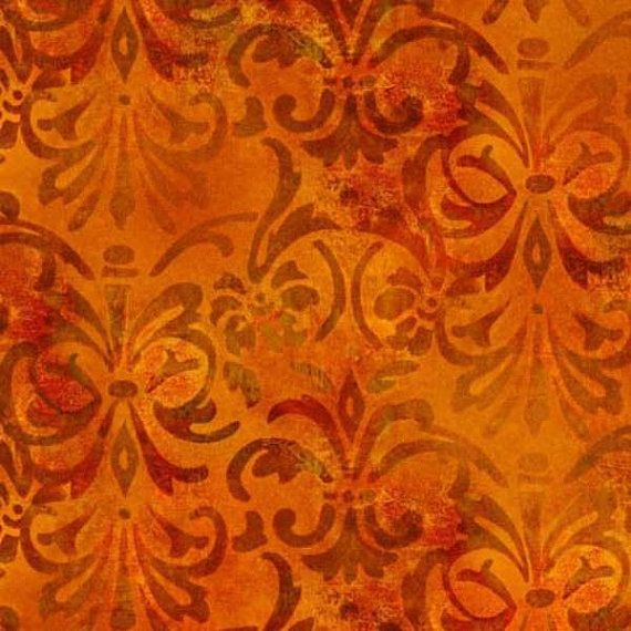 Orange Distressed Scroll Fabric Yardage. Fall Batik Fabric. Rustic Autumn Fabric. Orange Batik Quilt Fabric. Thanksgiving Halloween Fabric.