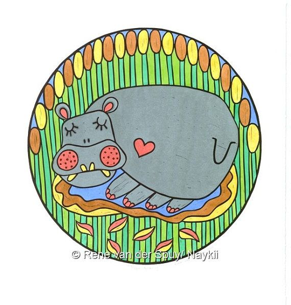 Hippo Relief Print African Art Linocut Printmaking Hand Colored