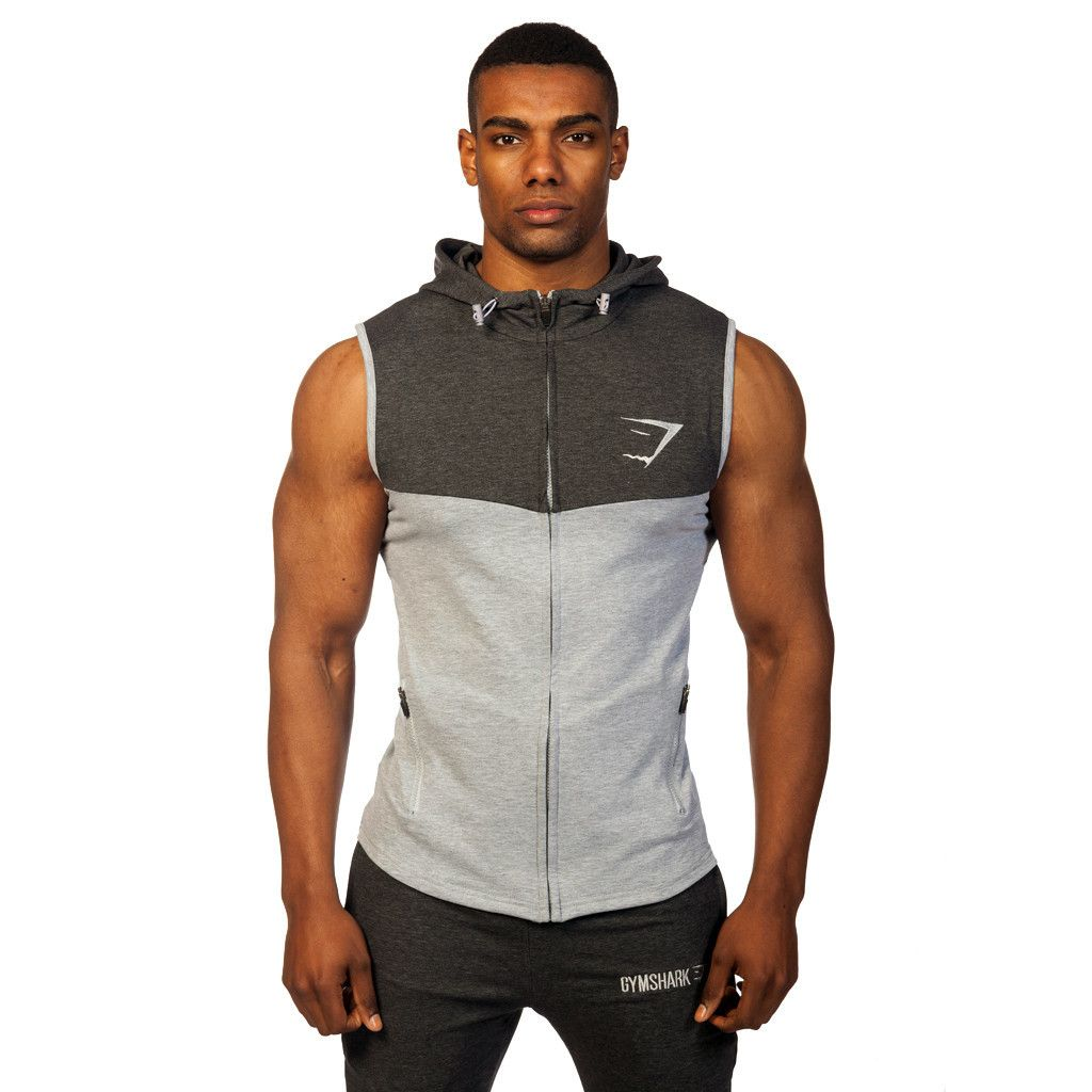 Men/'s Back To The Gym Black Sleeveless Zipper Hoodie Workout Athletic Fitness