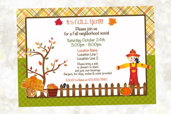 fall neighborhood party invitation pumpkin patch invitation