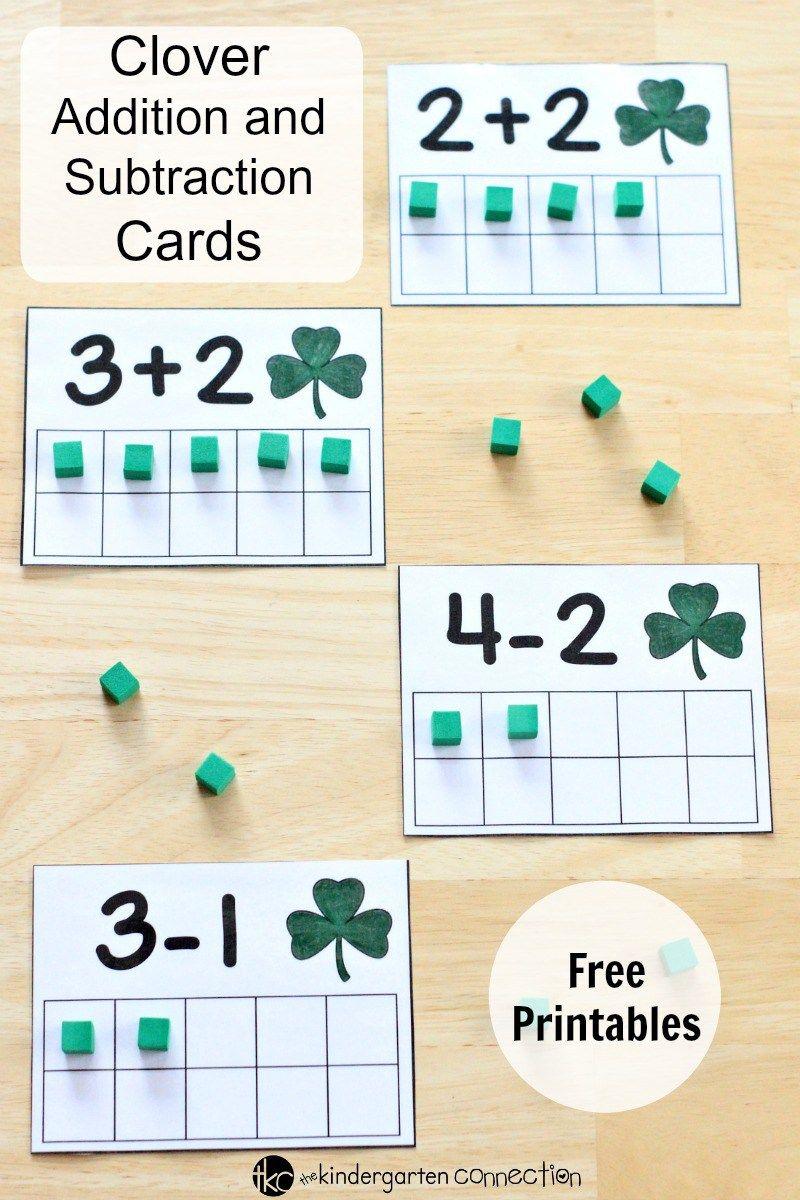Ten Frame Clover Addition And Subtraction Cards Miss Mae S Days Math Centers Kindergarten March Math Ten Frame [ 1200 x 800 Pixel ]