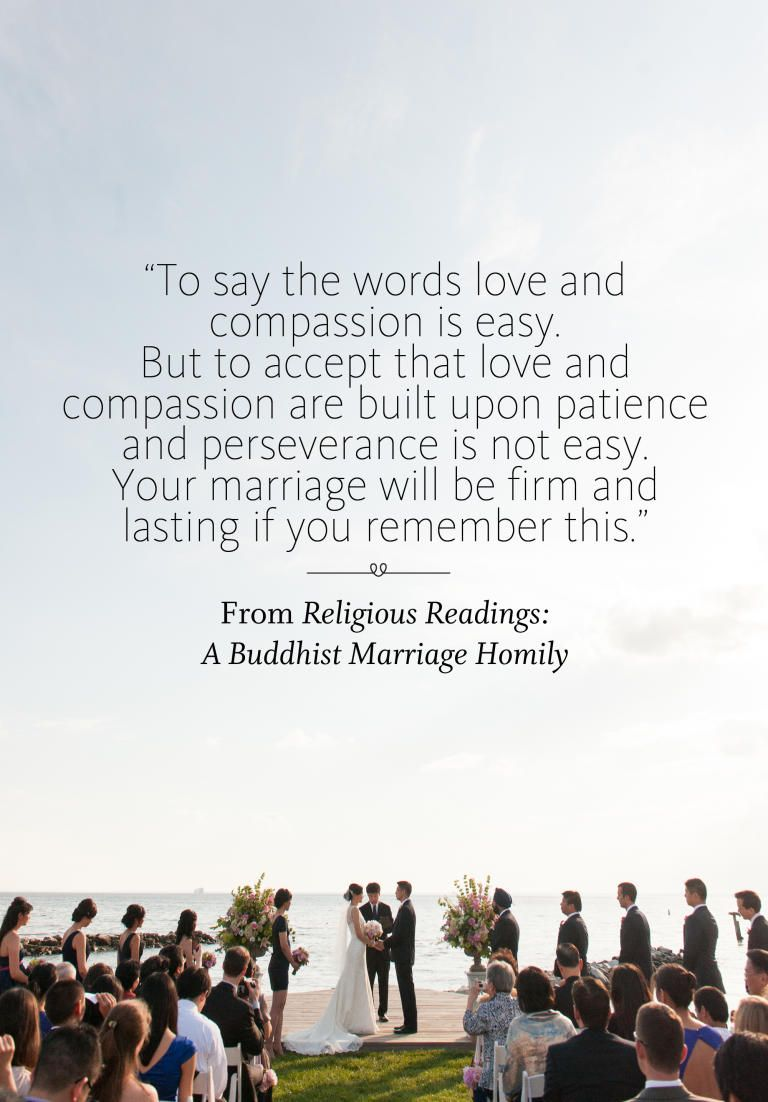 A Buddhist Marriage Homily wedding ceremony reading