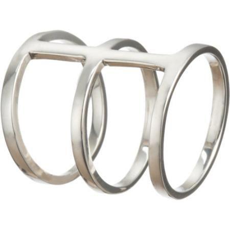 Loren Stewart Silver Three-Bar Cuff Ring size 6