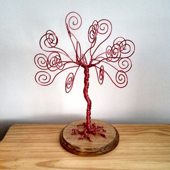 Red Wire Tree - Business Card Holder - Photo Display - Centerpiece ...