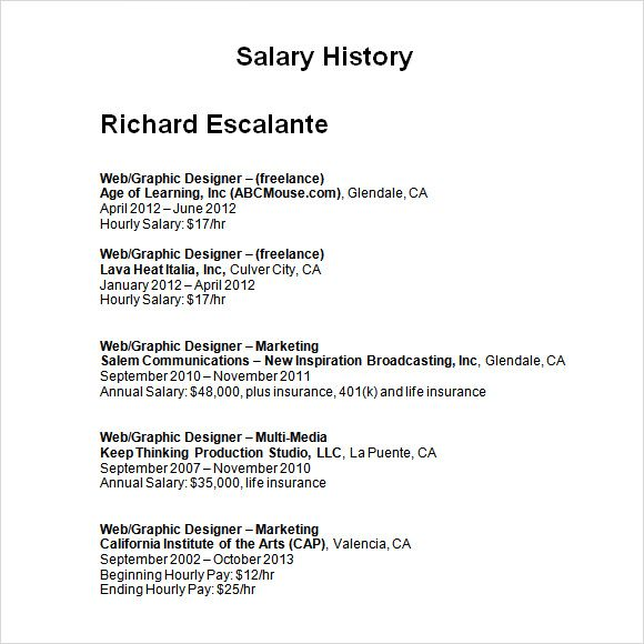 Salary History Template Receipt Free Samples Templates Words Microsoft
