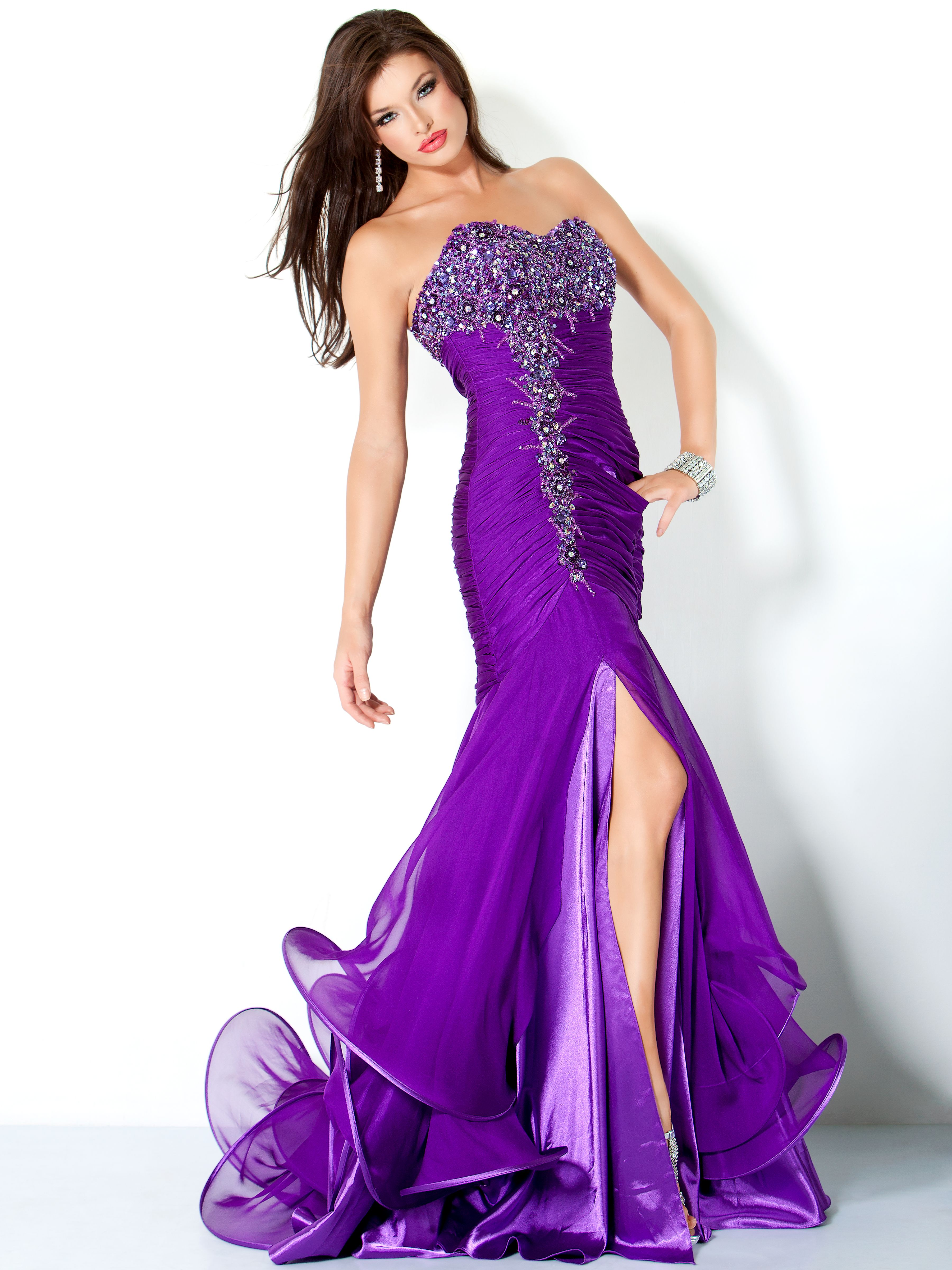 Long strapless purple mermaid evening dress with rhinestone accents ...