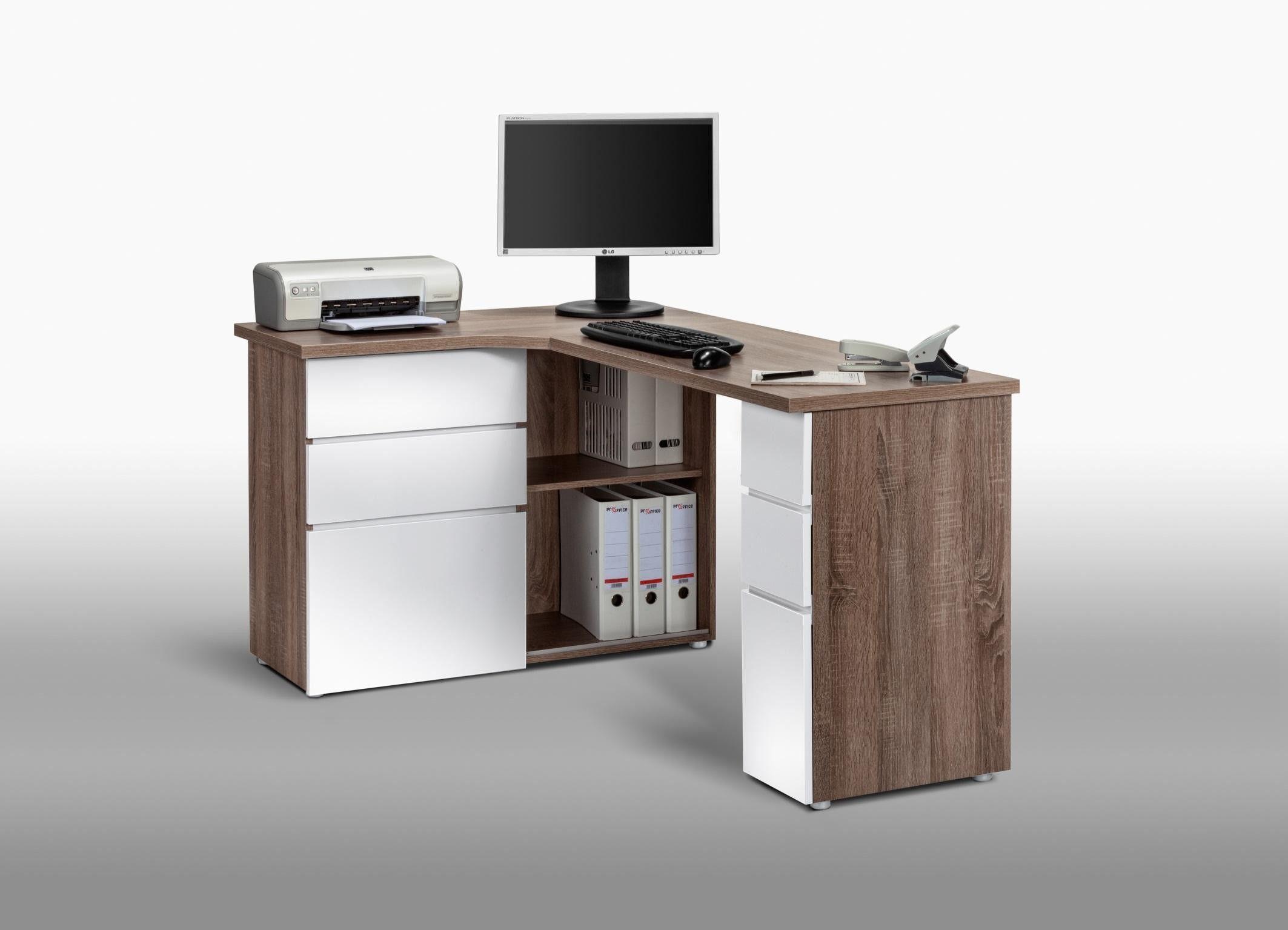 Bureau blanc laqué avec rangements meuble de bureau ikea