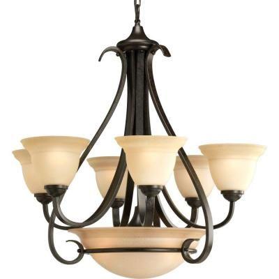 progress lighting torino collection 6 light forged bronze chandelier