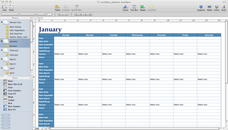 A spreadsheet-based meal planner designed in Apple Numbers. | Meal ...