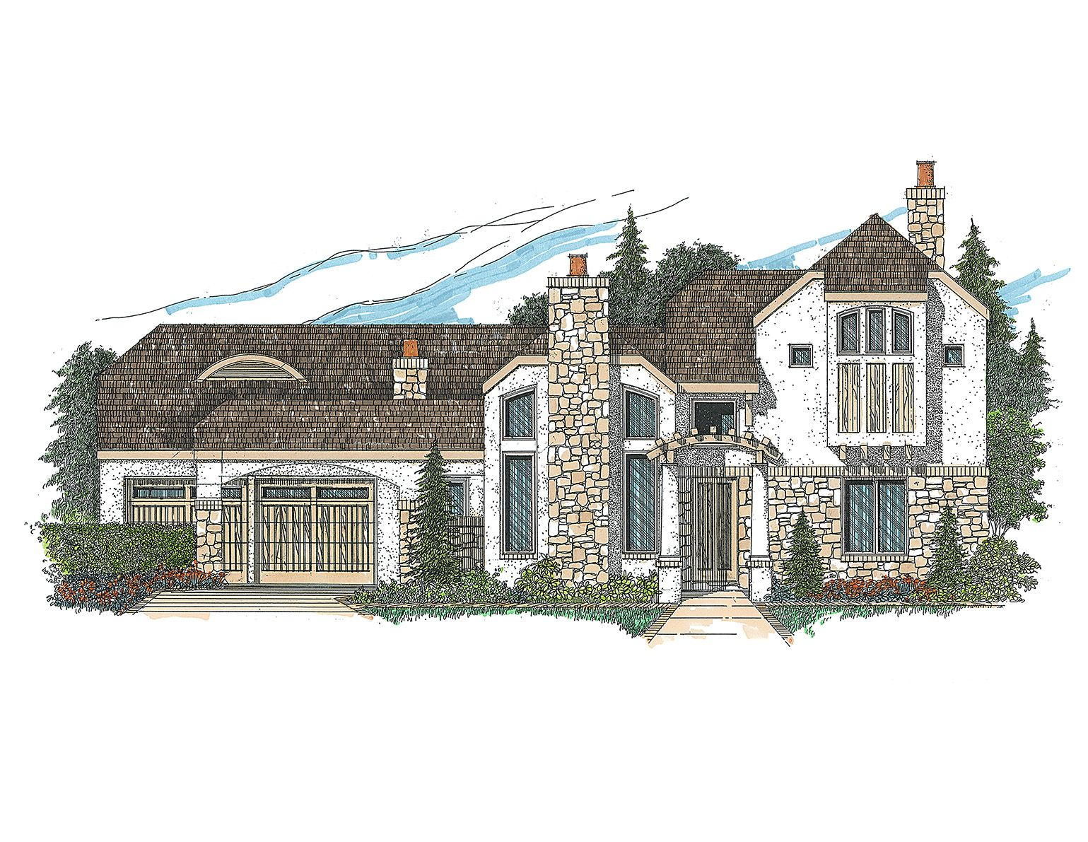 Plan 12517RS: Contemporary with Stucco, Stone and Tile Roof | Shower ...