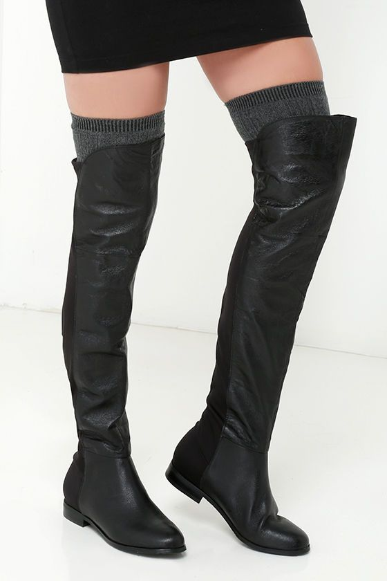 Chinese Laundry Riley Black Nappa Leather Over The Knee Bootsat