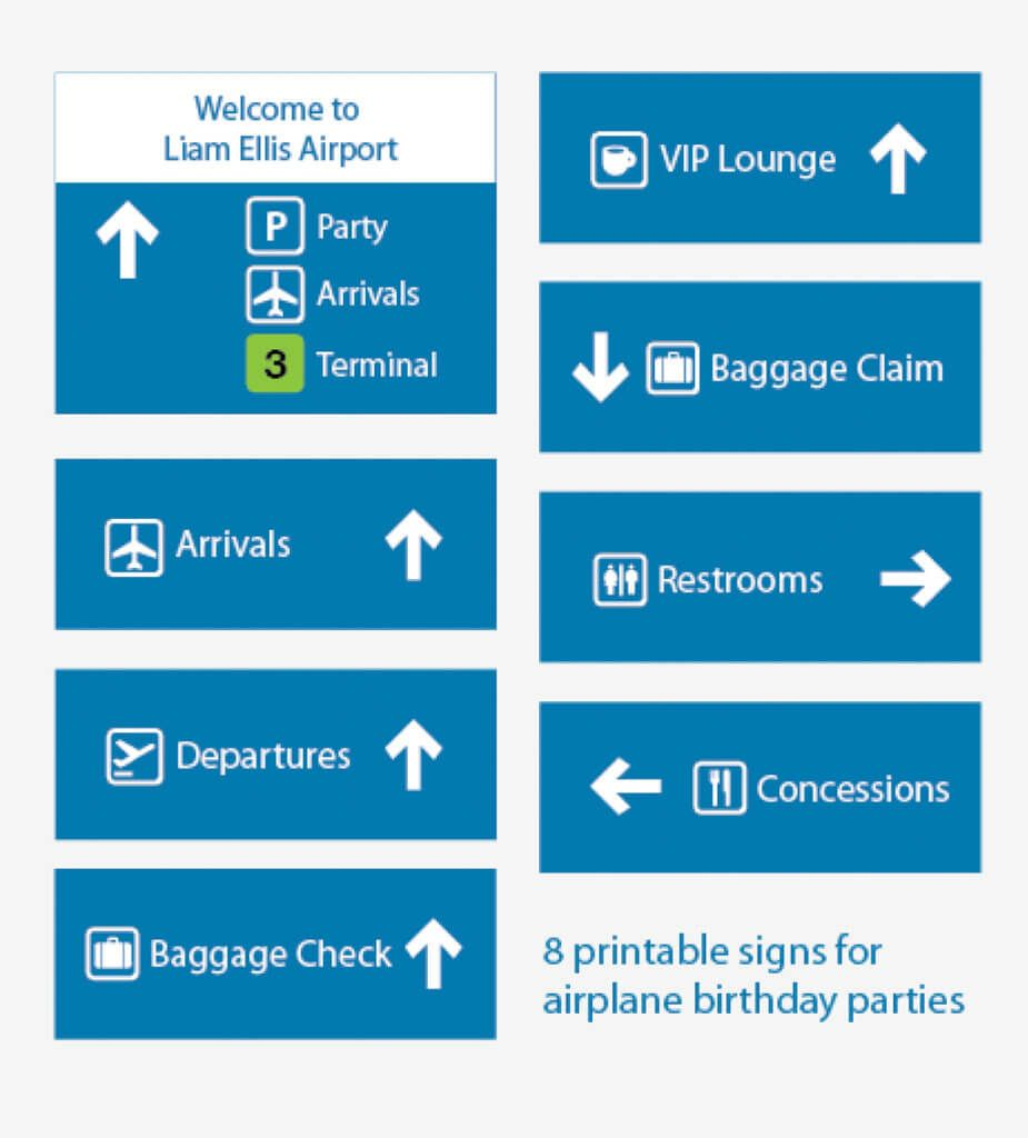 Printable Airport Signs Airplane Party Planes Party