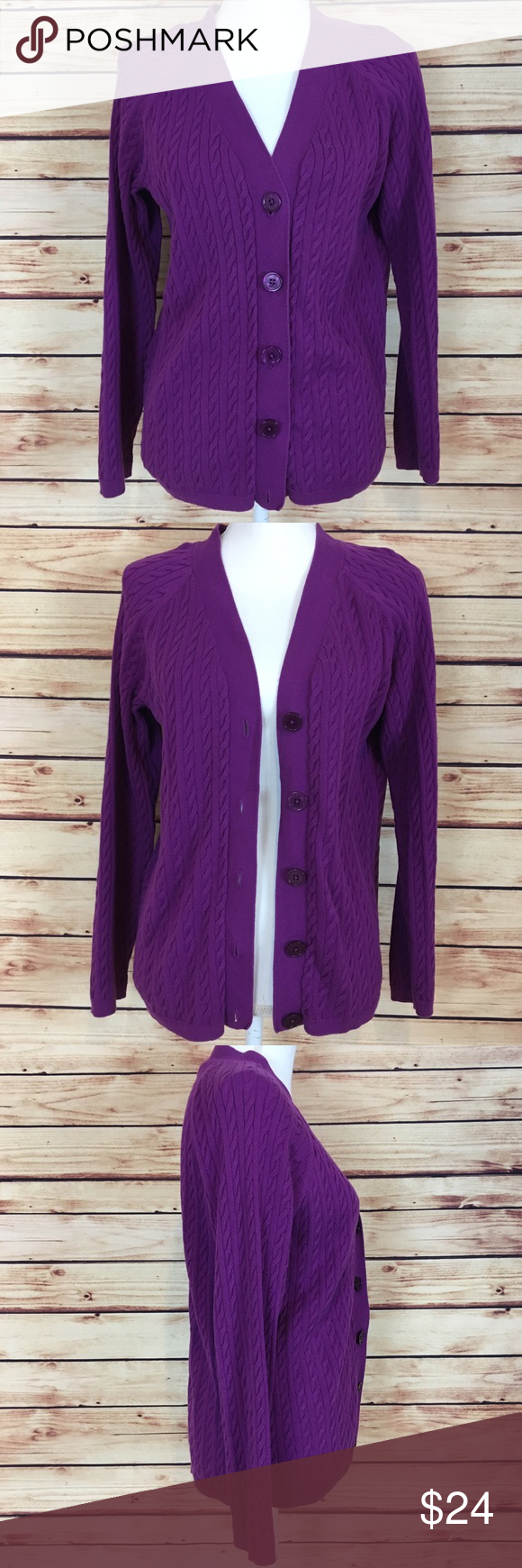 Talbots Purple Sweater Button Down Cable Knit | Talbots, Cable ...