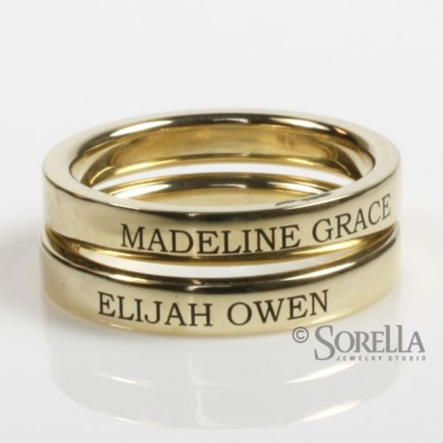 Engraved 3mm Stackable Ring In 14k Gold kids names or birthdates or
