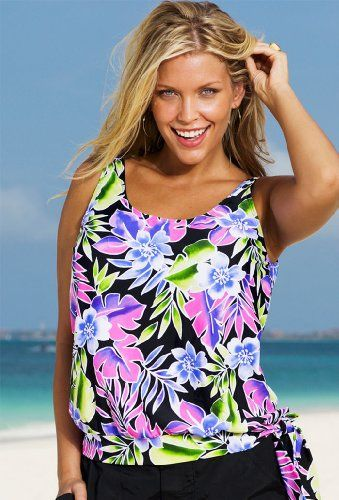 beach belle brisbane plus size blouson tankini top women's