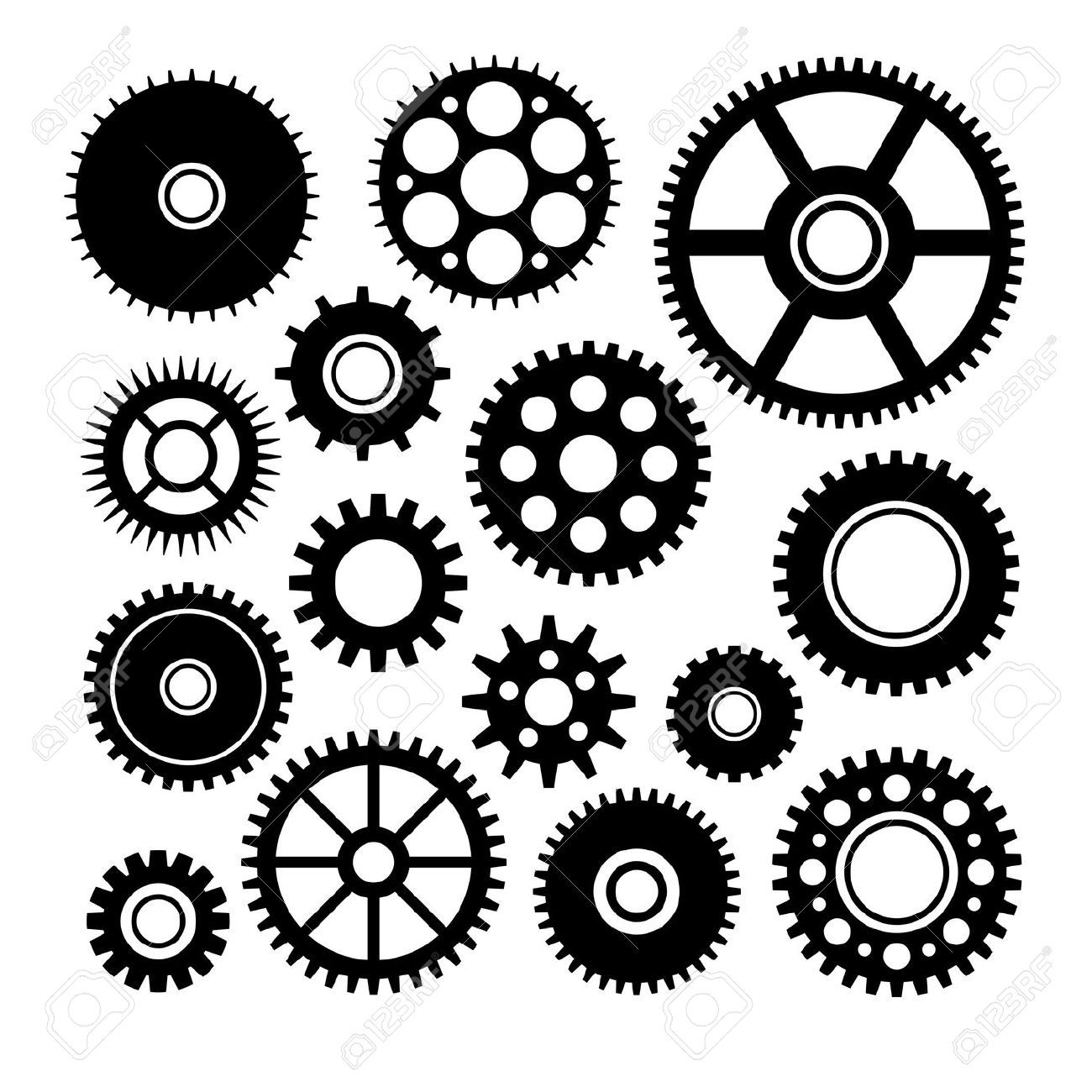 Vector set of some gears | Back Tattoo | Gears, Steampunk ...