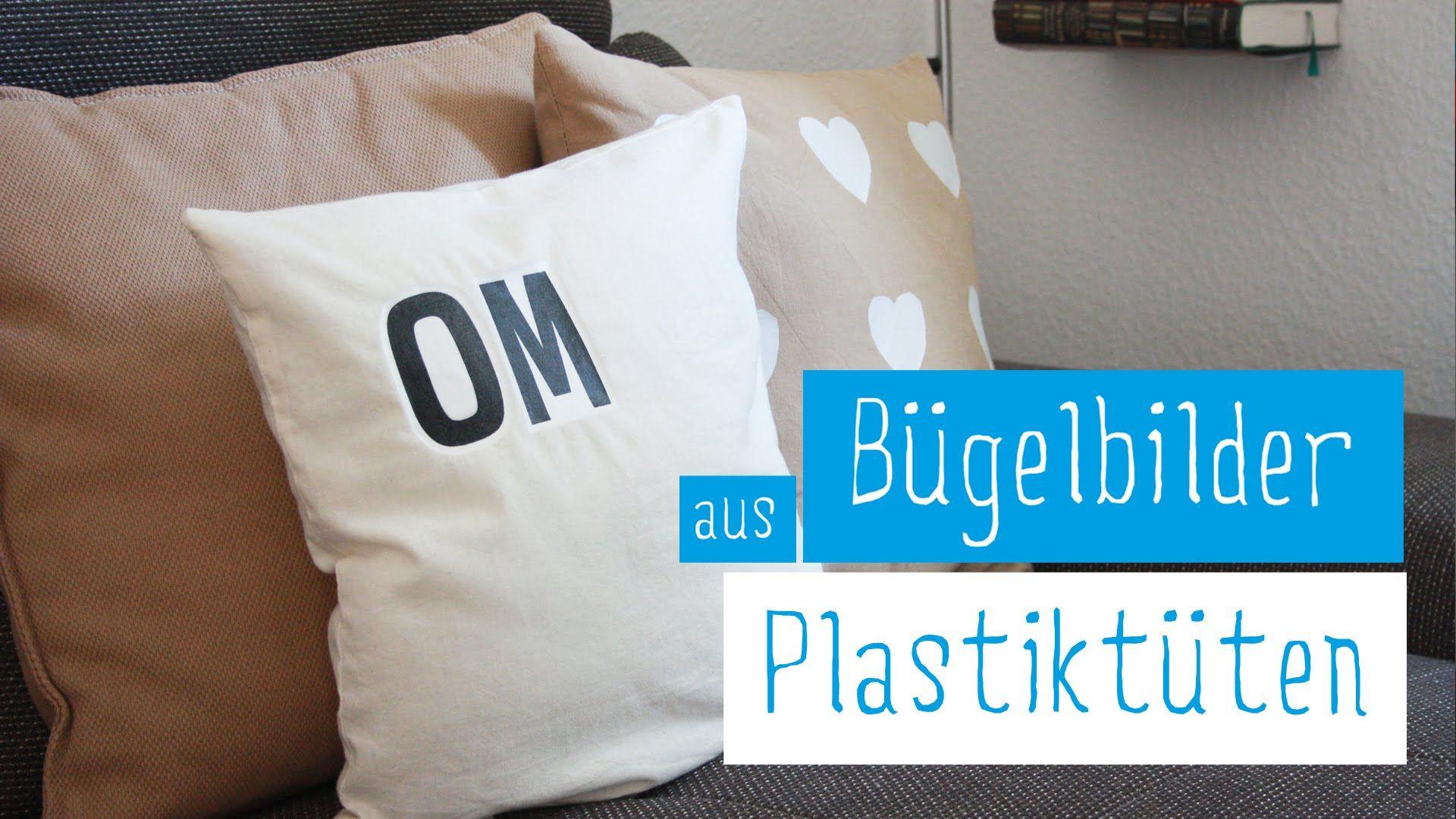 upcycling diy kissen selbst bedrucken plastikt ten aufb geln transferte wichtigbastelei. Black Bedroom Furniture Sets. Home Design Ideas