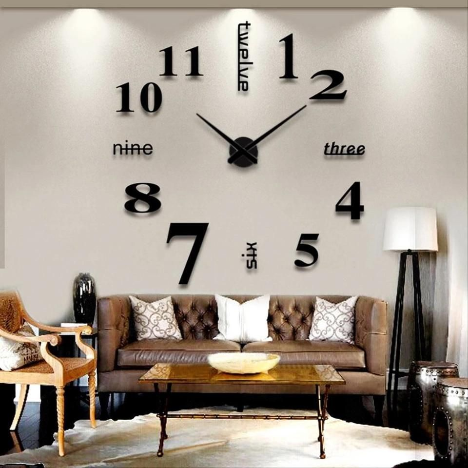 Big Mirror Wall Clock Modern Design 3D DIY Large Decorative Wall ...
