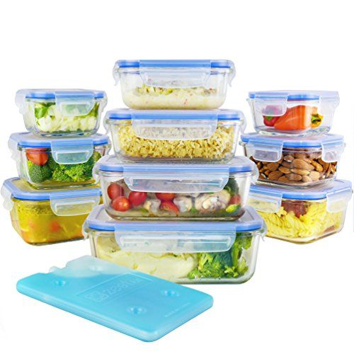 Zestkit 20 Pieces Glass Food Storage Containers Set with Airtight