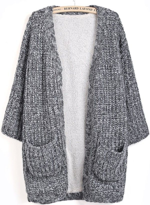 Korean Designer Brand Casual Grey Knit Long Cardigan Coat With ...