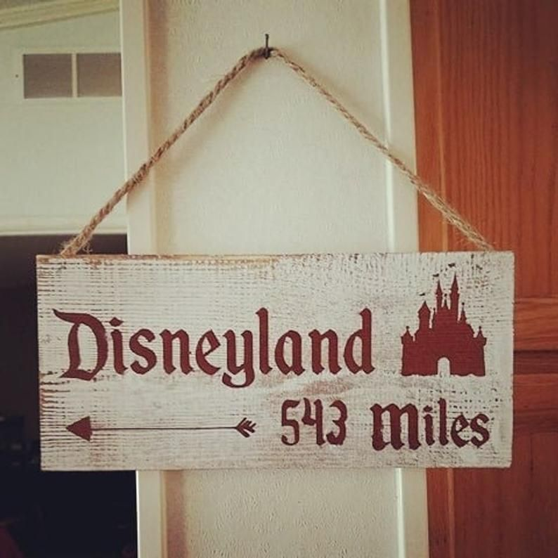 Rustic Miles to Disney Sign - Personalize With Your Milage To Disney World, Disneyland, Main Street