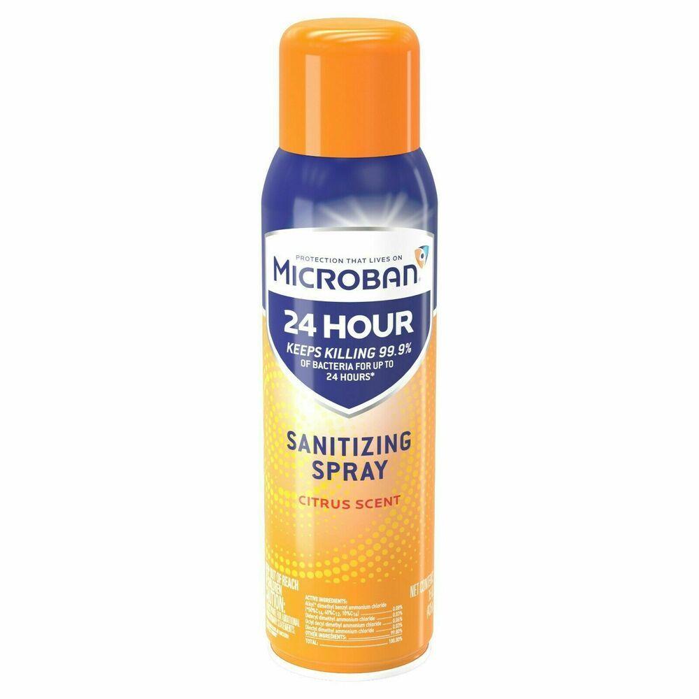 Microban 24 Hour Disinfectant Sanitizing Spray Citrus 15fl Oz Antibacterial Microban In 2020 Citrus Scent Disinfectant Spray Sugar Scrub Diy