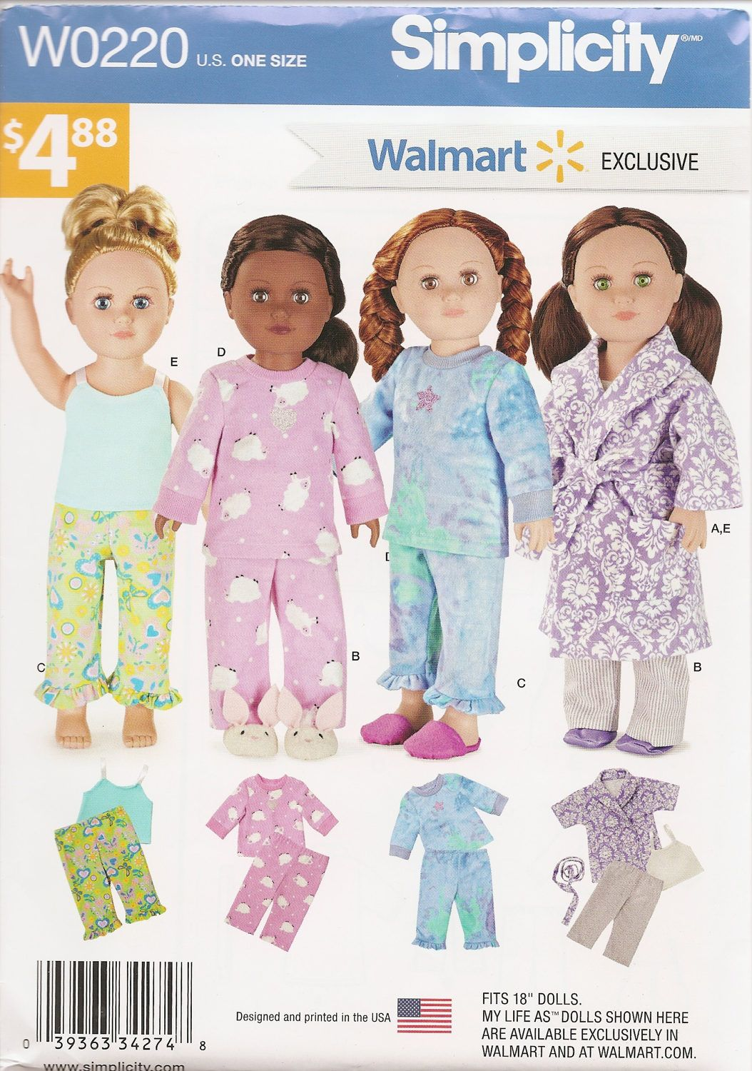 Simplicity Sewing Pattern 0220 Walmart Exclusive 18 Doll Clothes Pajamas Robe Tank Pants My 18 Inch Doll Clothes Pattern American Doll Clothes Ag Doll Clothes