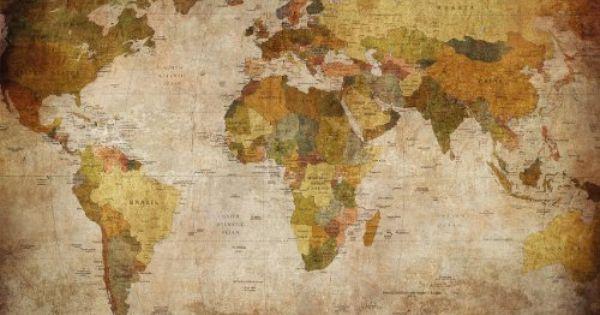 Liked on Pinterest: Mappemonde Papier peint - Motif rétro vintage - XXL carte du monde fresque - Décoration de mur - GREAT ART www.great-art.de http://ift.tt/1RqJIwV