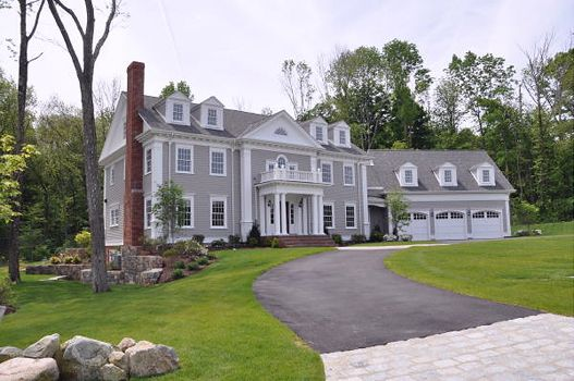 Fox Meadow Westwood Timeless Architecture Modern Conveniences Gray House Exterior Colonial House Plans Colonial House