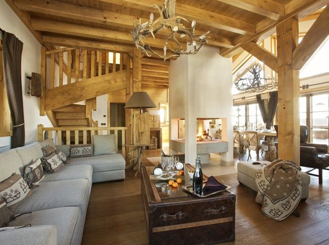 D coration d 39 interieur rustiques des chalets de montagne deco interieur d coration maison - Deco interieur chalet ...