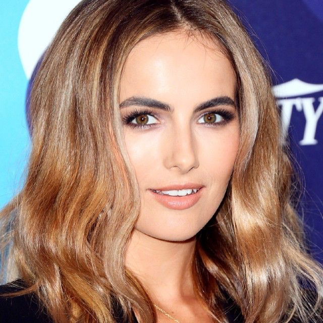 """#sultry @camillabelle attends #unite4humanity event last night. Thanks @tomford for the beautiful makeup! To create the eye look I used the eye color quad in """"cognac sable"""" with a touch of the paler shade from the """"ripe plum"""" on the inner corners of her eyes. @hairbyjohnd #makeup #byjakebailey @swartists #camillabelle #tomfordmakeup"""