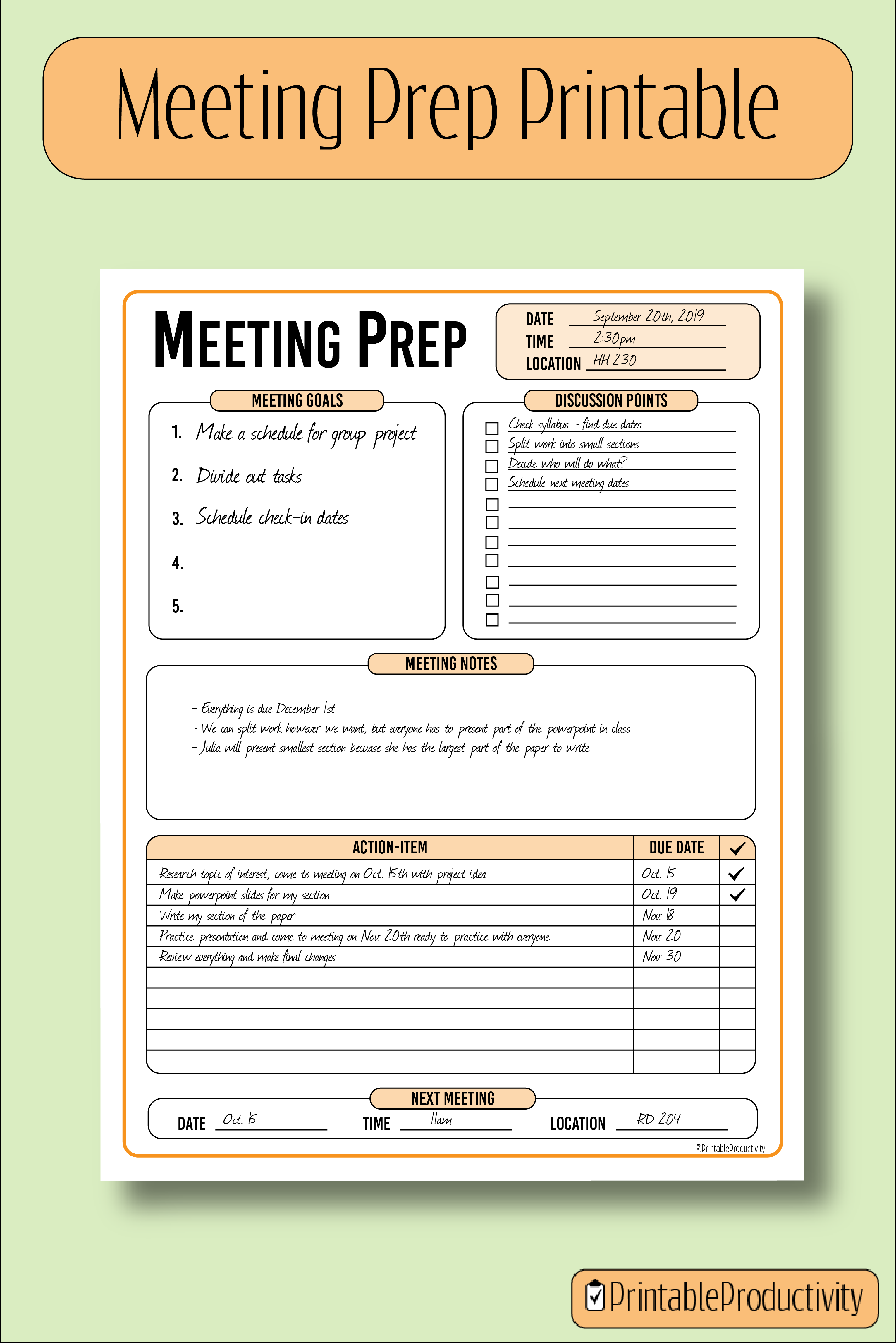 Meeting Prep Conference Planner Goal Setting Discussion