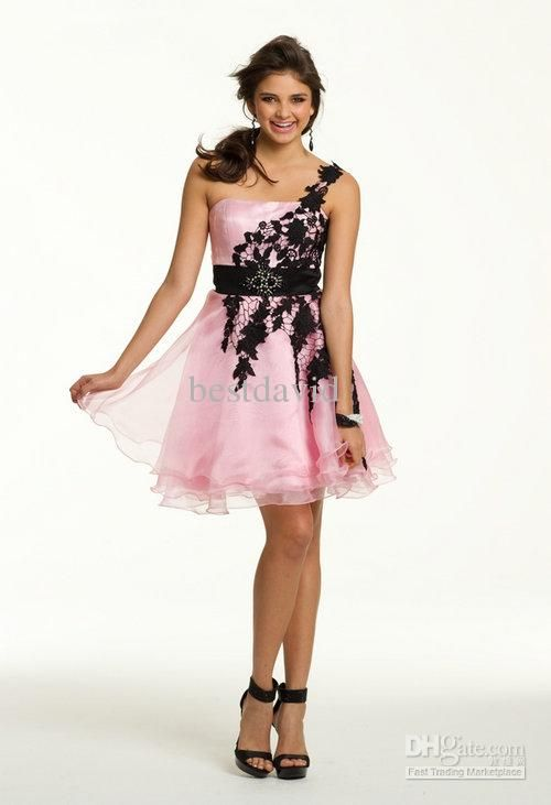 2013 Discount Pink And Black Lace Party Dress A-Line Organza One ...