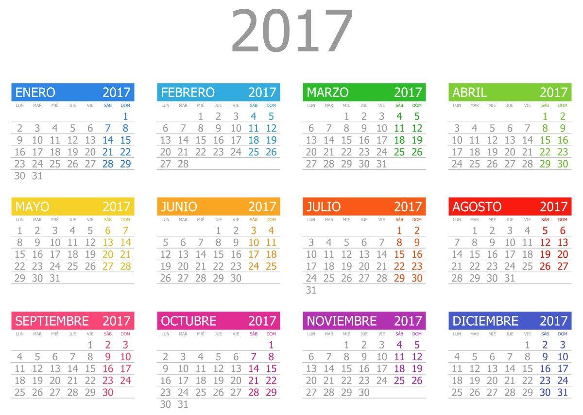 ... Calendario 2017 para imprimir con Días Festivos   Agendas   Pinterest
