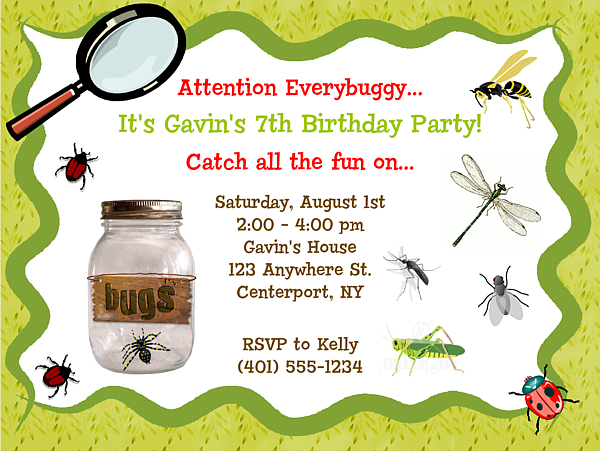 Printable or Emailable Bugs Insect Birthday Party by bugluv – Insect Birthday Invitations