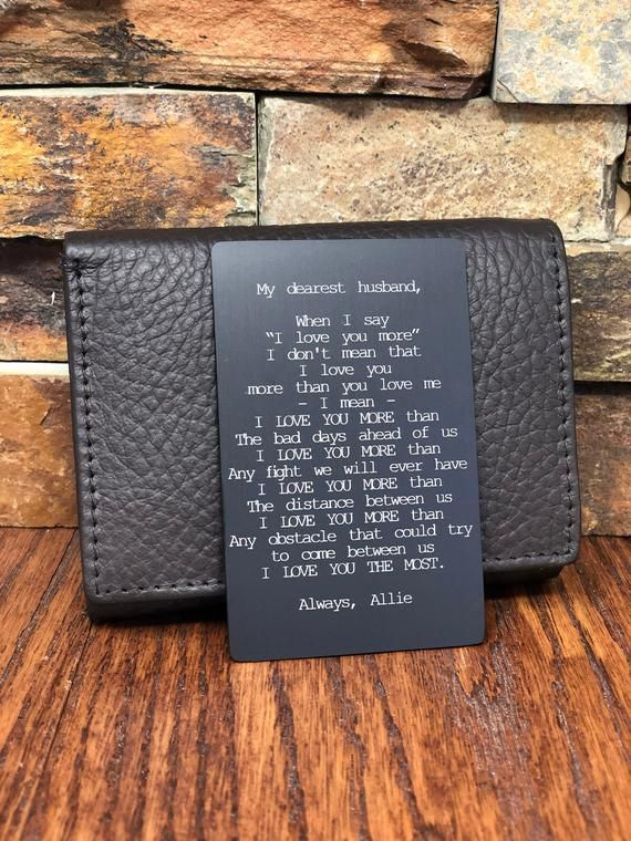 504db49c78d Custom Wallet Card Insert, Engraved Gifts for Him, Husband ...