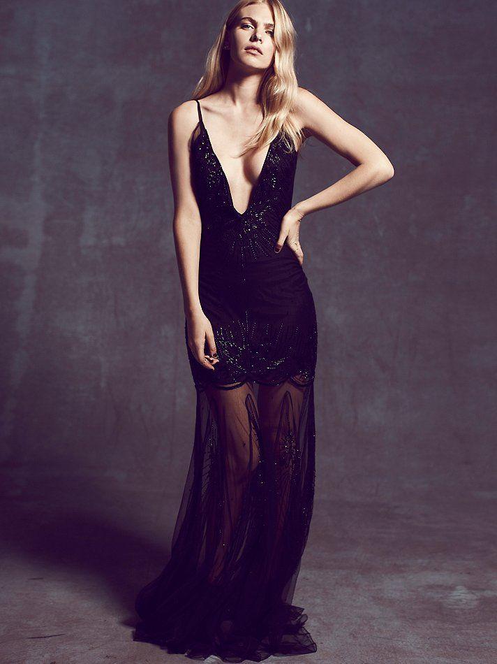Vestido escote profundo-transparenc… | Vestidos alta costura- fiesta ...